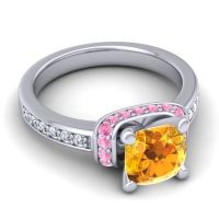 Halo Cushion Aksika Citrine Ring with Pink Tourmaline and Diamond in 18k White Gold
