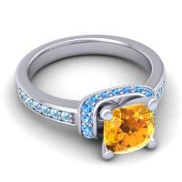 Halo Cushion Aksika Citrine Ring with Swiss Blue Topaz and Aquamarine in 18k White Gold