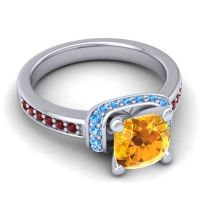 Halo Cushion Aksika Citrine Ring with Swiss Blue Topaz and Garnet in 14k White Gold
