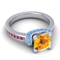Halo Cushion Aksika Citrine Ring with Swiss Blue Topaz and Ruby in Palladium