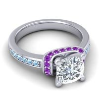 Halo Cushion Aksika Diamond Ring with Amethyst and Aquamarine in 14k White Gold