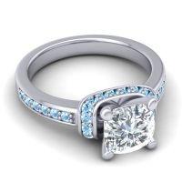 Halo Cushion Aksika Diamond Ring with Aquamarine in 14k White Gold