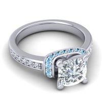 Halo Cushion Aksika Diamond Ring with Aquamarine in Palladium