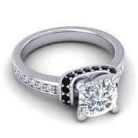 Halo Cushion Aksika Diamond Ring with Black Onyx in Palladium