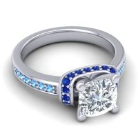 Halo Cushion Aksika Diamond Ring with Blue Sapphire and Swiss Blue Topaz in Platinum