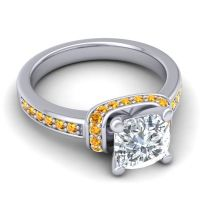 Halo Cushion Aksika Diamond Ring with Citrine in 14k White Gold