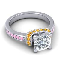 Halo Cushion Aksika Diamond Ring with Citrine and Pink Tourmaline in 18k White Gold