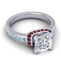 Halo Cushion Aksika Diamond Ring with Garnet and Aquamarine in Platinum