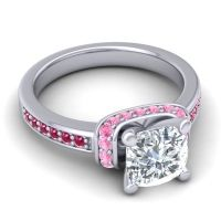 Halo Cushion Aksika Diamond Ring with Pink Tourmaline and Ruby in 14k White Gold