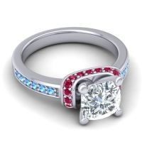 Halo Cushion Aksika Diamond Ring with Ruby and Swiss Blue Topaz in Platinum