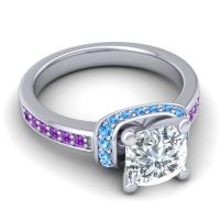 Halo Cushion Aksika Diamond Ring with Swiss Blue Topaz and Amethyst in 18k White Gold