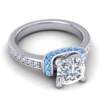 Halo Cushion Aksika Diamond Ring with Swiss Blue Topaz in Palladium