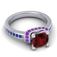Halo Cushion Aksika Garnet Ring with Amethyst and Blue Sapphire in 18k White Gold