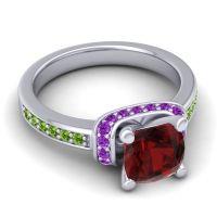 Halo Cushion Aksika Garnet Ring with Amethyst and Peridot in Platinum