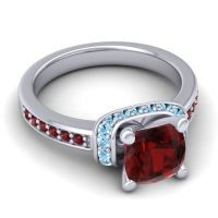 Halo Cushion Aksika Garnet Ring with Aquamarine in 18k White Gold