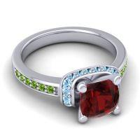 Halo Cushion Aksika Garnet Ring with Aquamarine and Peridot in 18k White Gold