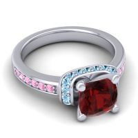 Halo Cushion Aksika Garnet Ring with Aquamarine and Pink Tourmaline in 14k White Gold