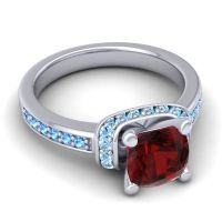 Halo Cushion Aksika Garnet Ring with Aquamarine and Swiss Blue Topaz in 14k White Gold