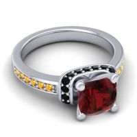 Halo Cushion Aksika Garnet Ring with Black Onyx and Citrine in 14k White Gold