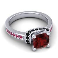 Halo Cushion Aksika Garnet Ring with Black Onyx and Ruby in 14k White Gold