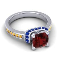 Halo Cushion Aksika Garnet Ring with Blue Sapphire and Citrine in 14k White Gold