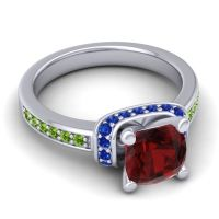 Halo Cushion Aksika Garnet Ring with Blue Sapphire and Peridot in 14k White Gold