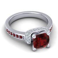 Halo Cushion Aksika Garnet Ring with Diamond in Palladium