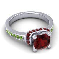 Halo Cushion Aksika Garnet Ring with Peridot in 14k White Gold