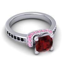 Halo Cushion Aksika Garnet Ring with Pink Tourmaline and Black Onyx in Palladium