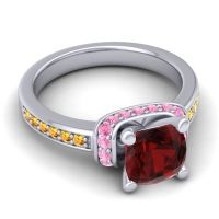 Halo Cushion Aksika Garnet Ring with Pink Tourmaline and Citrine in 18k White Gold