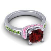 Halo Cushion Aksika Garnet Ring with Pink Tourmaline and Peridot in 14k White Gold