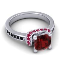 Halo Cushion Aksika Garnet Ring with Ruby and Black Onyx in Platinum