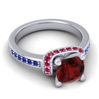 Halo Cushion Aksika Garnet Ring with Ruby and Blue Sapphire in 18k White Gold