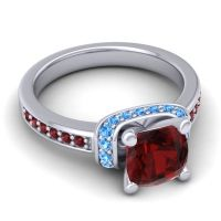 Halo Cushion Aksika Garnet Ring with Swiss Blue Topaz in 14k White Gold