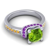Halo Cushion Aksika Peridot Ring with Amethyst and Citrine in 18k White Gold