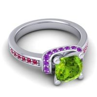 Halo Cushion Aksika Peridot Ring with Amethyst and Ruby in Platinum