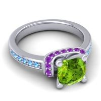 Halo Cushion Aksika Peridot Ring with Amethyst and Swiss Blue Topaz in 14k White Gold