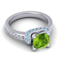 Halo Cushion Aksika Peridot Ring with Aquamarine and Diamond in 18k White Gold