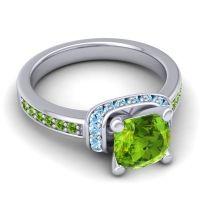 Halo Cushion Aksika Peridot Ring with Aquamarine in 18k White Gold