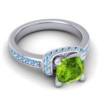 Halo Cushion Aksika Peridot Ring with Aquamarine and Swiss Blue Topaz in Platinum