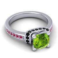 Halo Cushion Aksika Peridot Ring with Black Onyx and Ruby in Palladium