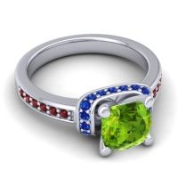 Halo Cushion Aksika Peridot Ring with Blue Sapphire and Garnet in 14k White Gold