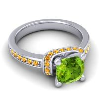 Halo Cushion Aksika Peridot Ring with Citrine in Palladium