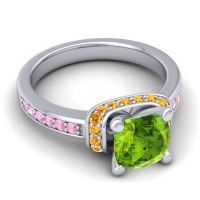 Halo Cushion Aksika Peridot Ring with Citrine and Pink Tourmaline in Platinum