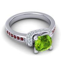 Halo Cushion Aksika Peridot Ring with Diamond and Garnet in Palladium