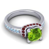 Halo Cushion Aksika Peridot Ring with Garnet and Aquamarine in Palladium