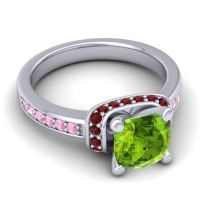 Halo Cushion Aksika Peridot Ring with Garnet and Pink Tourmaline in 14k White Gold