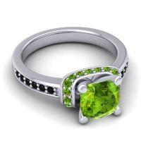 Halo Cushion Aksika Peridot Ring with Black Onyx in Palladium
