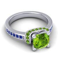 Halo Cushion Aksika Peridot Ring with Blue Sapphire in Palladium