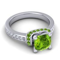 Halo Cushion Aksika Peridot Ring with Diamond in 18k White Gold